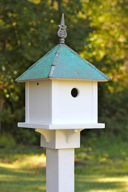 SkyBox Copper Roof-Vinyl Birdhouse-Post-Mounted