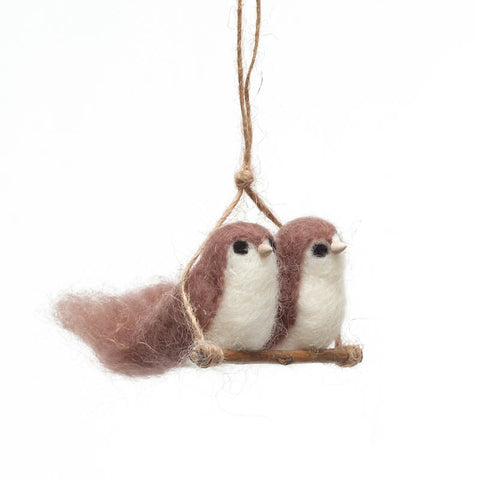 Hand-Felted Love Birds Ornament