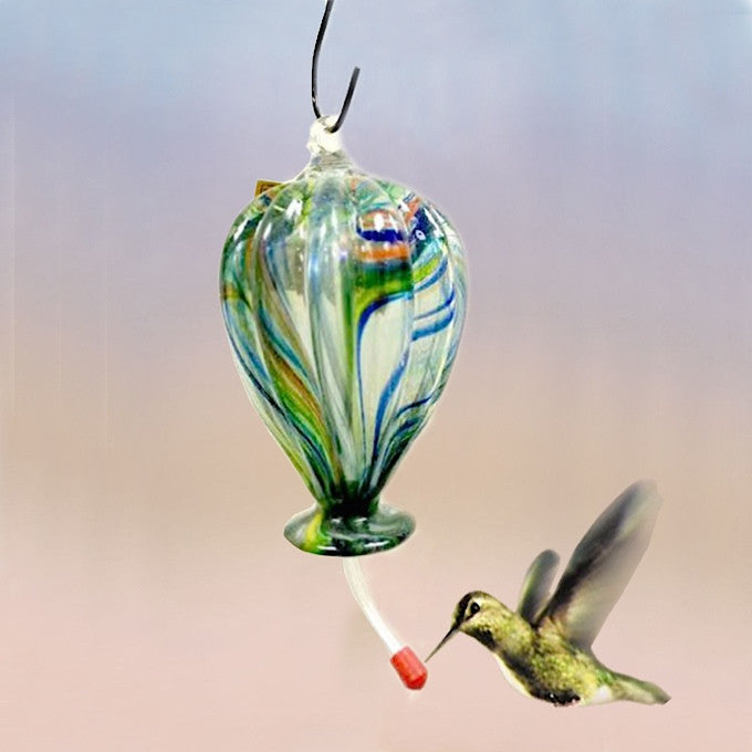 Hot Air Balloon Blown Glass Hummingbird Feeder