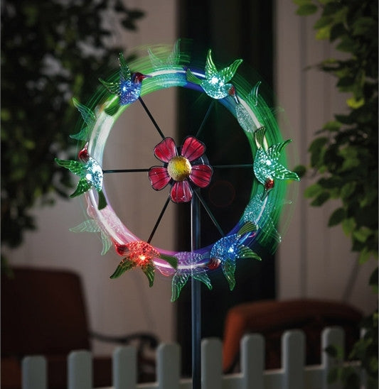 Hummingbirds Solar Color-Changing Garden Spinner