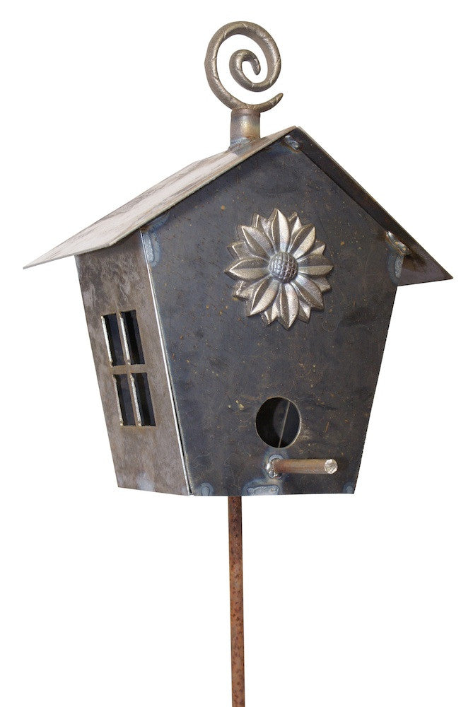 Hand Forged Birdhouse on Stake