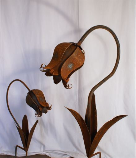 Large Hand Forged Flowers Garden Stakes-Lille Belles