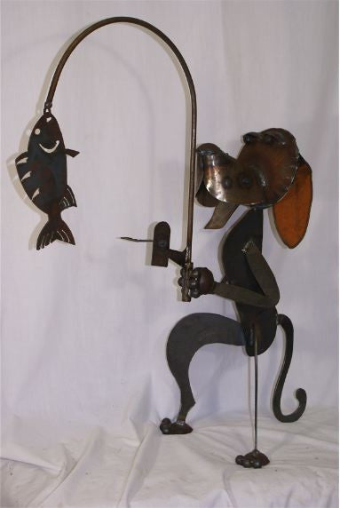 Hand Forged Dog Gone Fishing Yard Art
