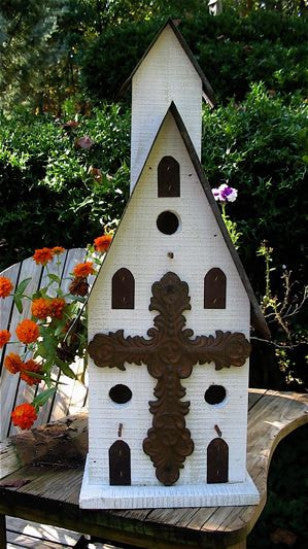 Church Birdhouse-Triple Entry