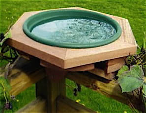 Classic Wooden Deck-Mount Bird Bath