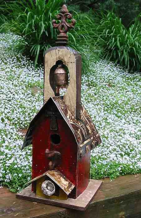 Red Church Birdhouse with Bell