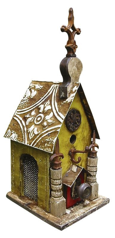 Vintage Church Birdhouse with Panels