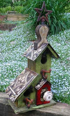 Rustic two nest birdhouse-green