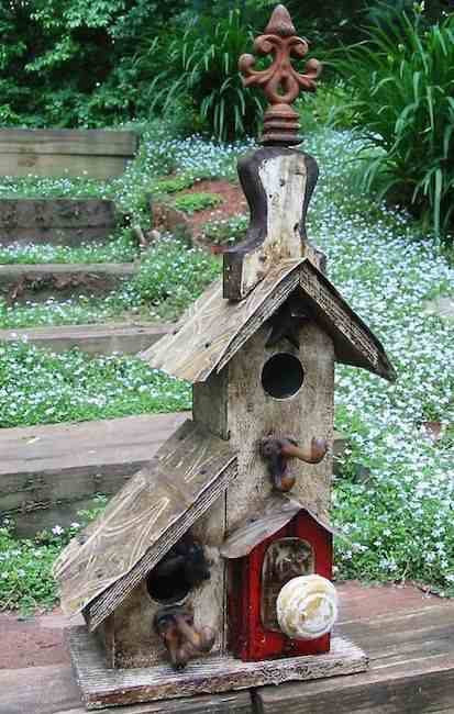 Rustic two nest birdhouse-white