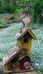 Rustic two nest birdhouse-yellow