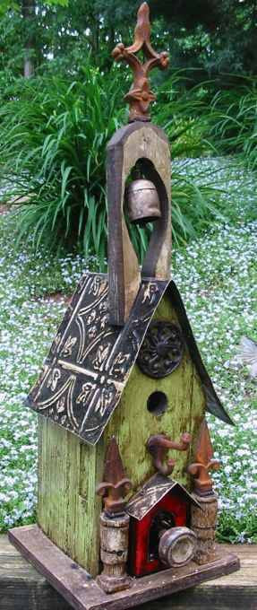 Rustic Church Birdhouse With Bell By Lorenzos Wood Works