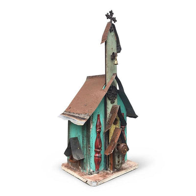 Large Church Birdhouse- Aqua