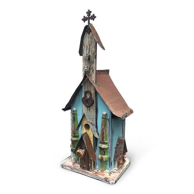 Large Church Birdhouse- Blue