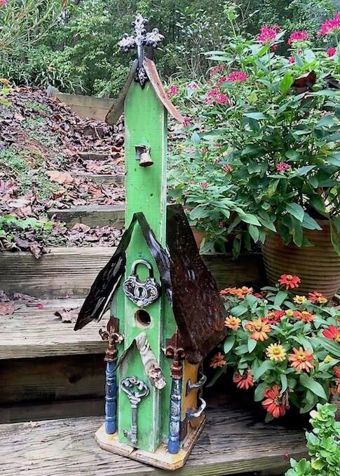 Large Vintage Church Birdhouse with Lock & Key