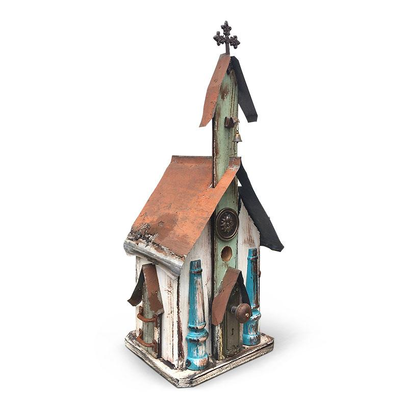 Large Church Birdhouse-White