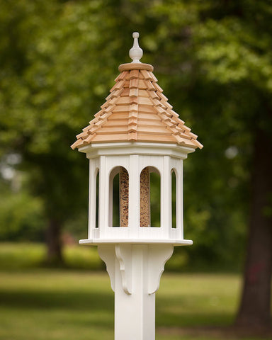 Large Gazebo Bird Feeder-Vinyl with Cypress Roof 14x36