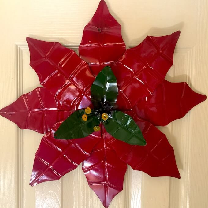Large Hanging Poinsettia Decor