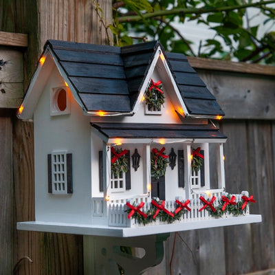 Lighted Holiday Birdhouse with Bracket