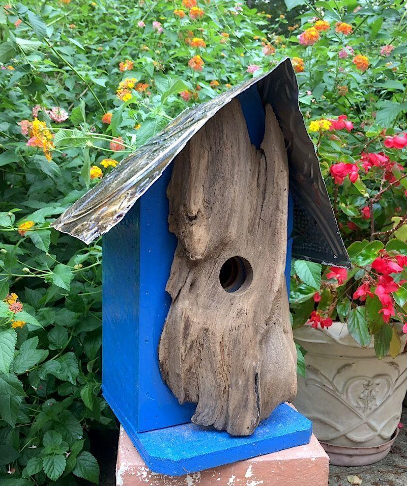 Log Front and Tin Birdhouse
