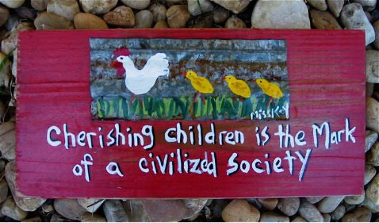 Hand Painted Plaque-Cherishing Children is...