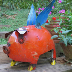 Extra Large Metal Pig Yard Art