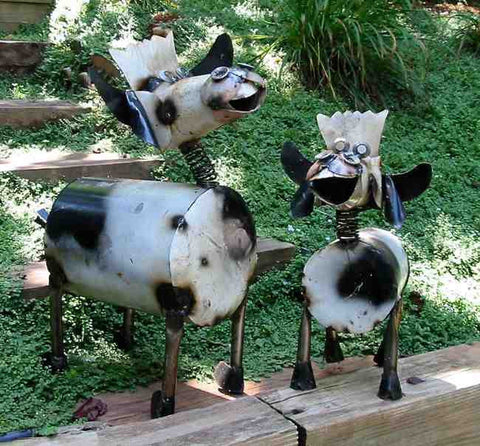 Recycled Metal Spotted Cows
