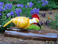 Woodpecker Garden Sculpture-Yellow Horizontal