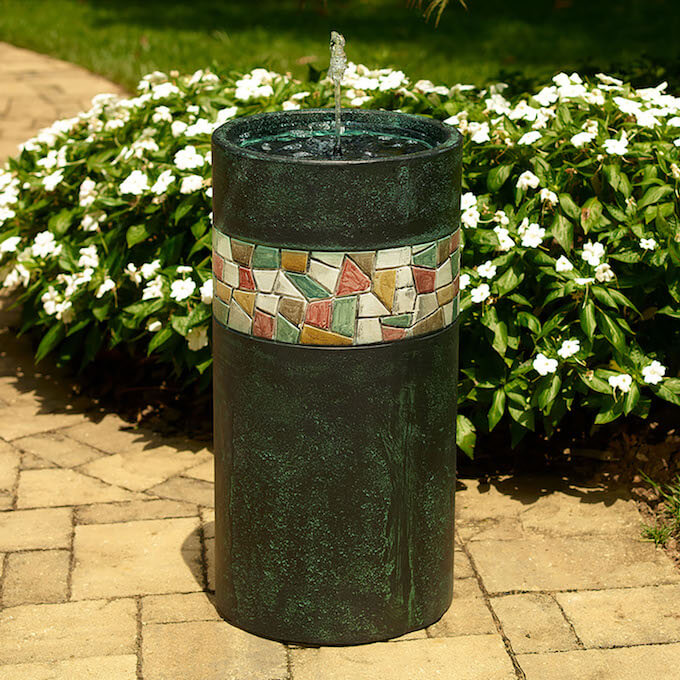 Mosaic Solar Bubbler Bird Bath