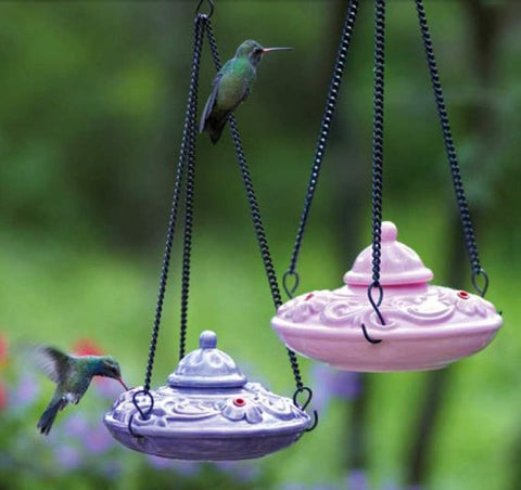 Floral Ceramic Hummingbird Feeder