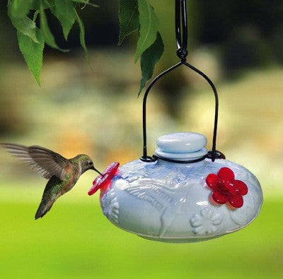 Milk Glass Top Fill Ceramic Hummingbird Feeder The