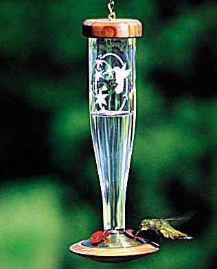 Crystal Etched Hummingbird Feeder