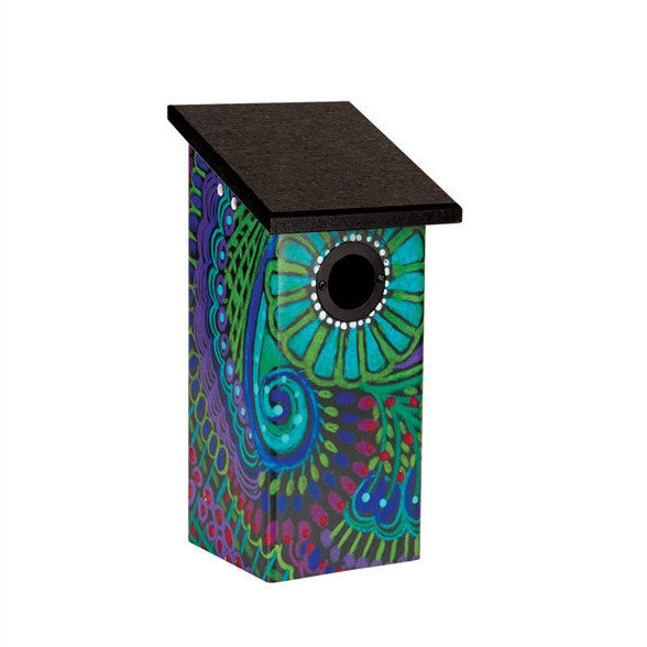 Vinyl Bluebird House- Paisley Design