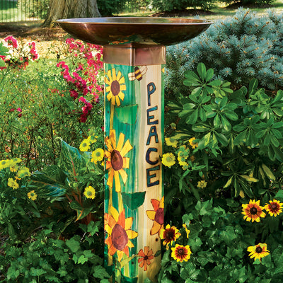 Peace Pedestal Bird Bath in Garden