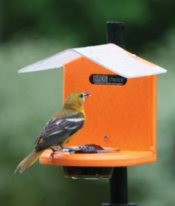 Recycled Pole Mount Oriole Feeder with Roof