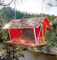Stained Glass Bird Feeder-Ruby Red