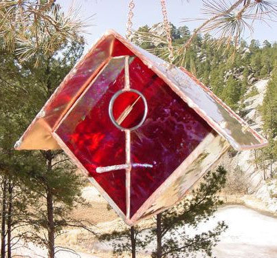 Stained Glass & Copper Birdhouse-Ruby Red