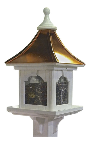 Copper Roof Bird Feeder-Large Capacity Post Mount