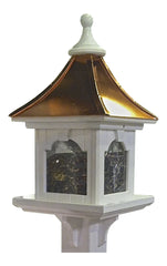 Copper Roof Bird Feeder-PVC, Large Capacity Post-Mount