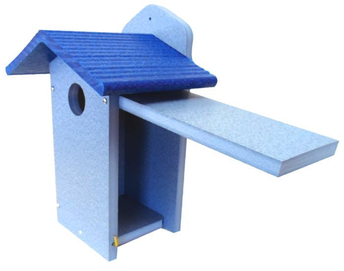 Recycled plastic bluebird house with blue roof the for Plastic duck house