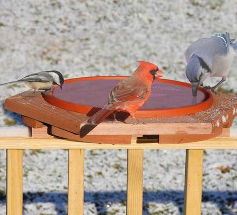 Cedar Heated Deck Mount Bird Bath