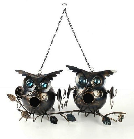 Two Owls On Branch Birdhouse