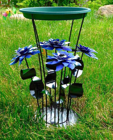 Cobalt Flowers Sculptural Bird Bath
