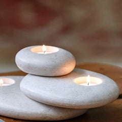 3-Stone Tea Light Holder in Sand