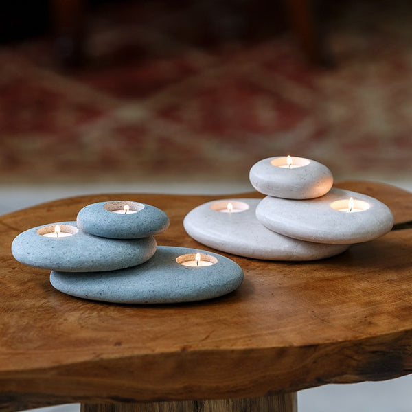 Stacked Stone Tea Light Holders Stone Candle Holder