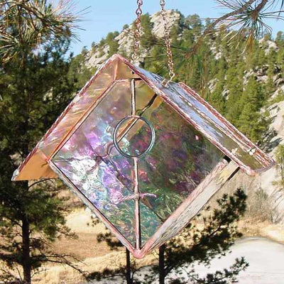 Clear Stained Glass Birdhouse
