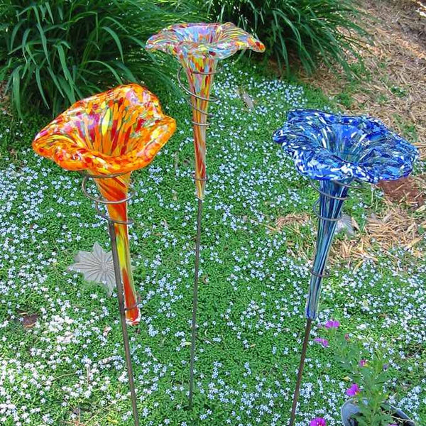 Staked Glass Butterfly Feeder And Bath Hand Blown Glass