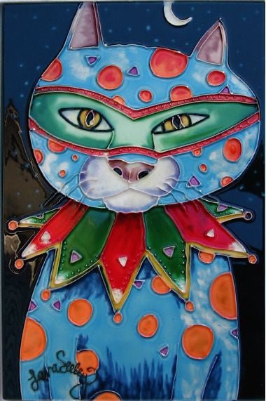 Hand Crafted Ceramic Tile-Mardi Gras Cat 8x12