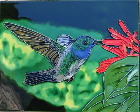 Ceramic Art Tile-Hummingbird 8x10