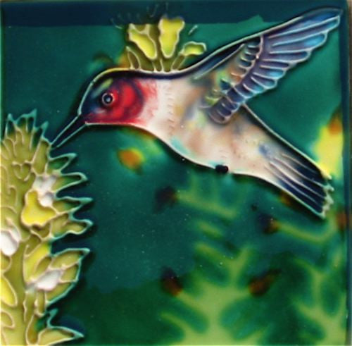 Hand Crafted Ceramic Tile-Hummingbird 4x4
