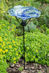 Swirl Art Glass Staked Bird Bath